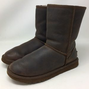 UGG Boots Short Classic Brown Leather Sheepskin 6